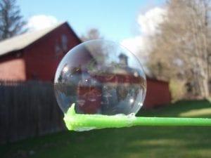 REd Barn Through a bubble